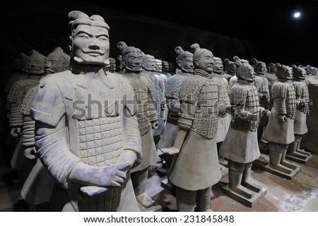 PRAGUE - NOVEMBER 10: Exhibition of Chinese Terracotta army in Prague, Czech republic, November 10, 2014.