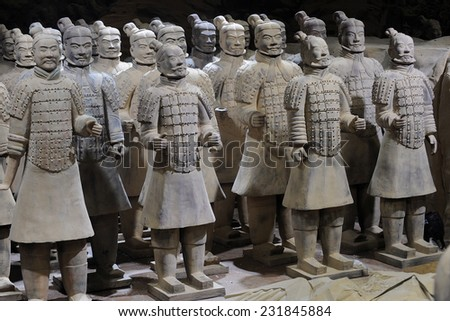 PRAGUE - NOVEMBER 10: Exhibition of Chinese Terracotta army in Prague, Czech republic, November 10, 2014. - stock photo