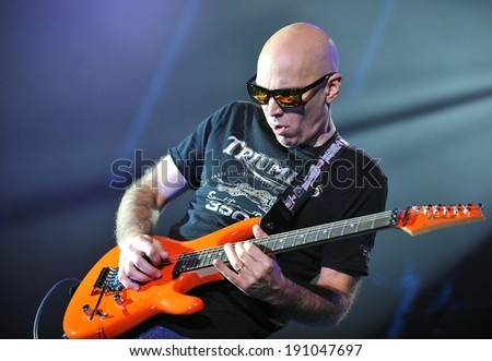PRAGUE - NOVEMBER 3: Guitarist Joe Satriani during his performance in Prague, Czech republic, November 3, 2010.