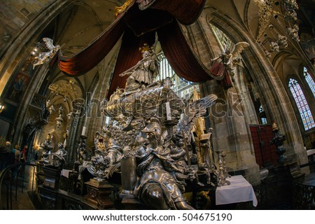 PRAGUE - October 5, 2015: Baroque silver tomb of St John of Nepomuk in the most famous church in Prague Castle. Prague, Czech Republic