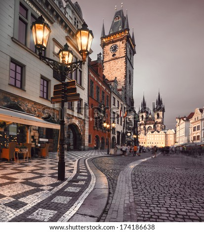 Prague, Old City Hall on the Town Square early evening - stock photo