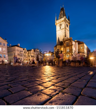 Prague, Old Town Hall on Market Square at night - stock photo