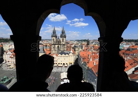 Prague, Old Town Square, looking at view from the clock tower - stock photo