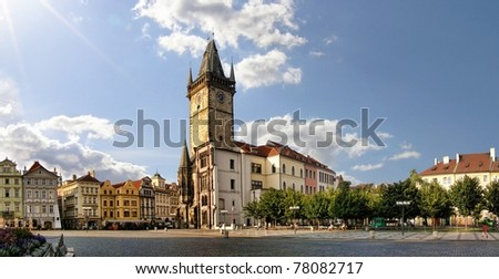 Prague Old Town Square panoramic photo - stock photo
