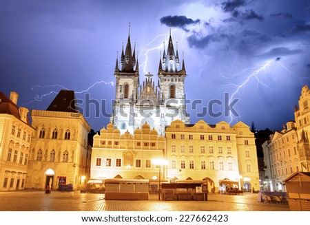 Prague Old town square, Tyn Cathedral at storm