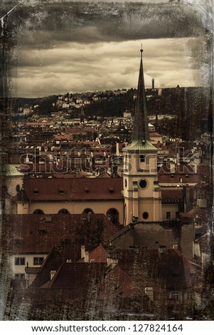 Prague Old Town - view from Prague Castle. Dark old vintage retro photo stylized. - stock photo