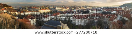 Prague panorama at sunset - stock photo
