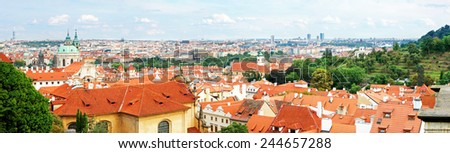 Prague panorama from a lookout close to the Prague Castle, Czech republic, Europe - stock photo