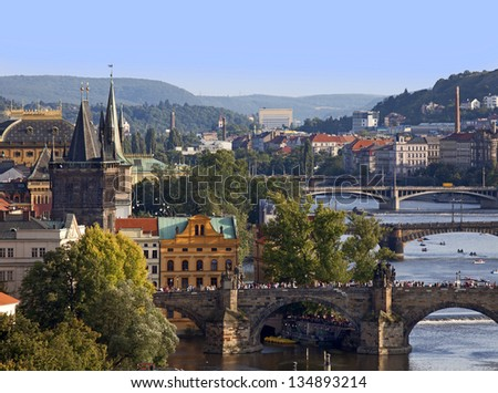 Prague Panorama with Vltava River, Old Town towers, National Theater and bridges - stock photo