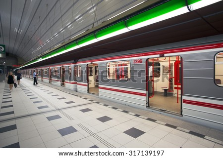 PRAGUE, PETRINY STATION - JULY 24, 2015: Prague Metro's station Petriny, one of four new stations at Line A  was open in 2015. Prague's Metro, founded in 1974 has already three lines and 61 stations.