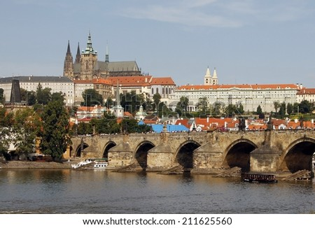 Prague Praga Prag sightseeing: Medieval castle and Charles Bridge - stock photo