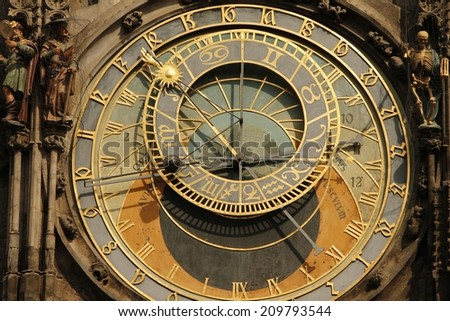 Prague Praga Prag The Golden City Astronomical clock Old city hall - stock photo