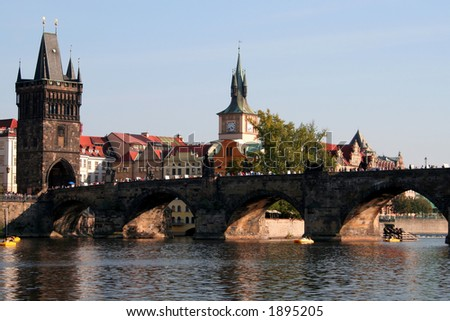 Prague's famous landmark: Charles Bridge - stock photo