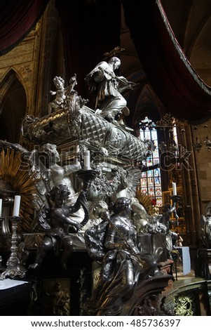 PRAGUE - SEP 1 , 2016 - Baroque silver tomb of St John of Nepomuk, St Vitus Cathedral,  Prague, Czech Republic