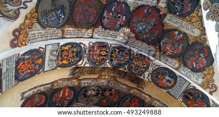 PRAGUE - SEP 1 , 2016 - Coats of arms heraldry of Bohemian nobility in the Royal palace,  Prague, Czech Republic