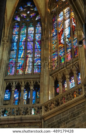 PRAGUE - SEP 1 , 2016 - Stained glass window in  St Vitus Cathedral,  Prague, Czech Republic