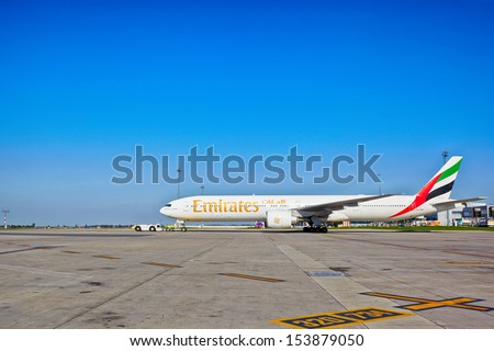 PRAGUE - SEPTEMBER 6: Emirates Boeing 777 ready for take off from Prague Airport on September 6, 2013. Emirates is airline with one of the youngest fleets and many  awards for excellence worldwide. - stock photo