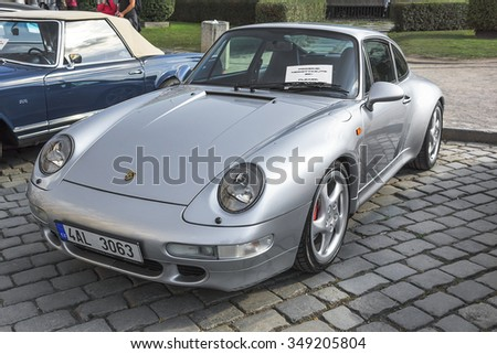 PRAGUE - SEPTEMBER 25: Retro car Ferrari on exhibition: Prague - Carlsbad Classic. In Prague on September 25, 2015.  - stock photo