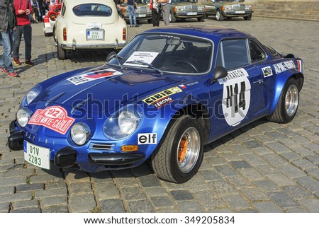 PRAGUE - SEPTEMBER 25: Retro car Renault Alpine on exhibition: Prague - Carlsbad Classic. In Prague on September 25, 2015.  - stock photo