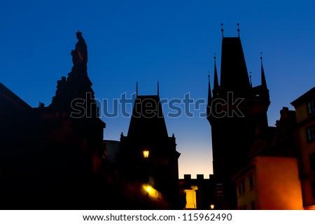 prague silhouets - stock photo