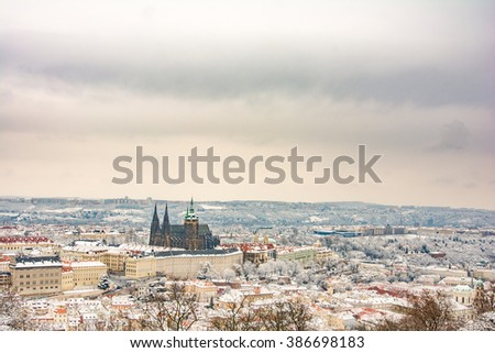 Prague skyline with a dusting of snow.