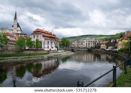 Prague spring. Czech Republic spring. Beauty of the ancient city. The streets, walls, signs Cesky Krumlov