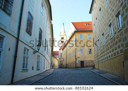 Prague streets wide angle - stock photo