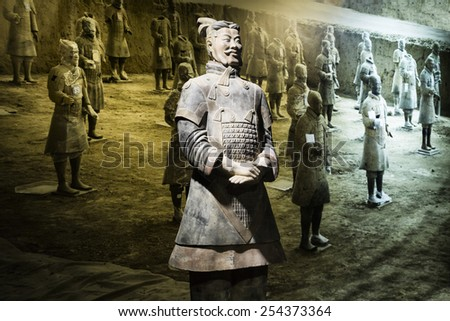Prague, 5th February 2015. Chinese terracotta warrior. Prague exibition. - stock photo