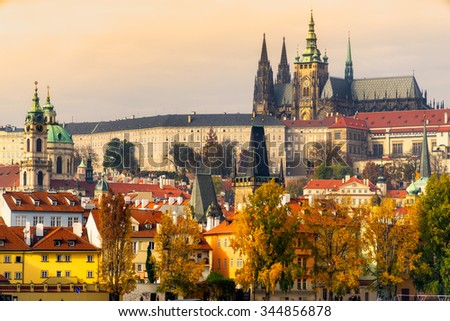 Prague, the Castle and St. Vitus Cathedral. Czech Republic - stock photo