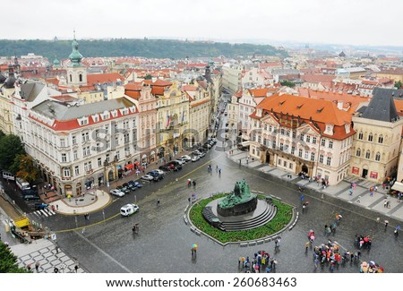 PRAGUE, THE CZECH REP., JUNE 23, 2009: nice  view on capital city Prague from birds eye