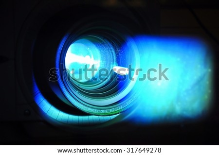 PRAGUE, THE CZECH REPUBLIC, 18.09.2011 - close up of data projector in class during the lesson - stock photo