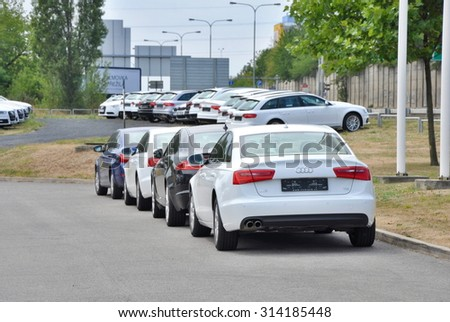 PRAGUE, THE CZECH REPUBLIC, 02.08.2015 - parking cars in front of car store in Prague