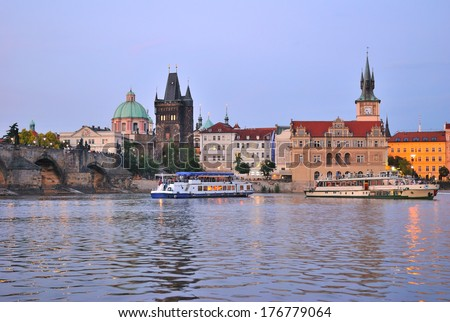 Prague. The Old Town and Vltava river at twilight   - stock photo