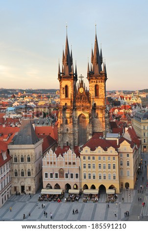 Prague. Tyn Cathedral of the Virgin Mary at sunset