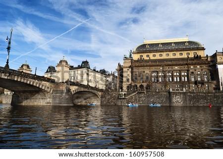 Prague, view from Vltava river - stock photo
