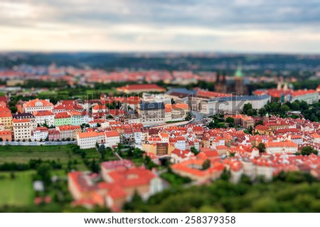 Prague view of the city from above with tilt shift effect - stock photo