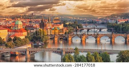 Prague, view of the Vltava River and bridges - stock photo