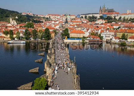 Praha, Czech Republic, August 10.2015-Charles Bridge in Prague