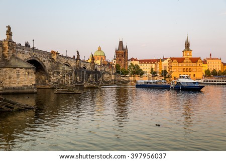 Praha, Czech Republic, August 08.2015-Charles Bridge in Prague
