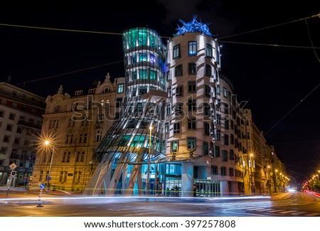 Praha, Czech Republic, August 10.2015-dancing house in Prague - stock photo