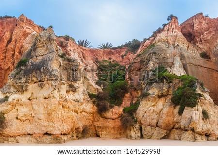 Praia da Rocha's beach formation on the Atlantic Ocean in Algarve, southern Portugal - stock photo