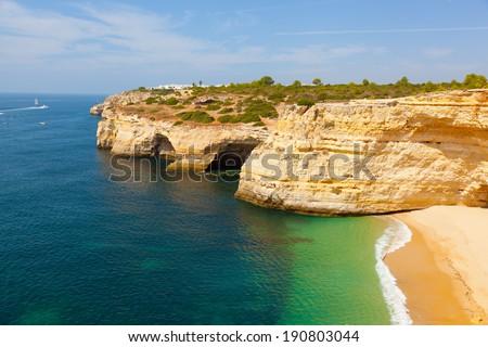 Praia de Benagil beach on atlantic coast, Algarve, Portugal - stock photo