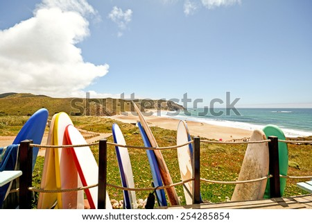 Praia do Amado, Beach and Surfer spot at the Algarve Portugal - stock photo