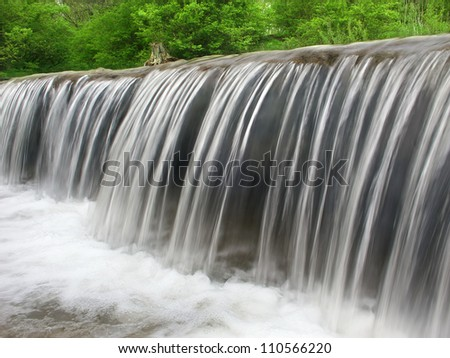 Prairie Creek Falls of the Des Plaines Conservation Area in Illinois - stock photo