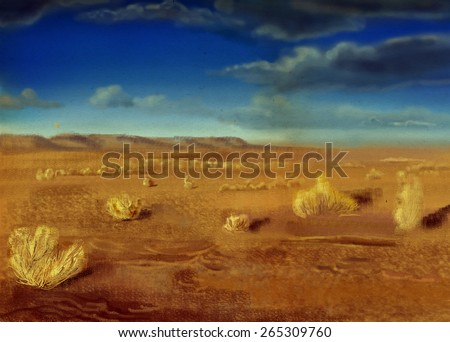 Prairie, dry grass, digital drawing, sketch - stock photo