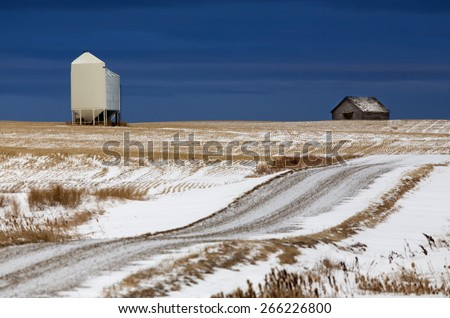 Prairie Landscape in winter Saskatchewan Canada scenic - stock photo