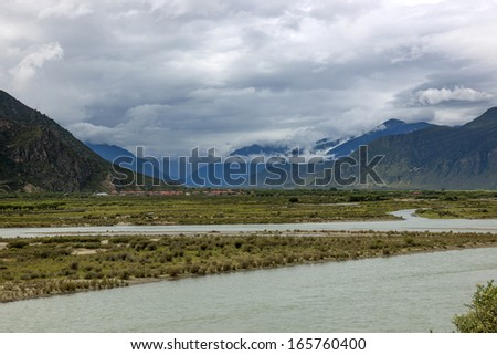 Prairie Rivers Mountains in tibet