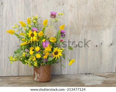 Prairie wildflowers in a old plastic jug against a weathered backdrop - stock photo