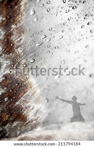 Praise in the rain - stock photo