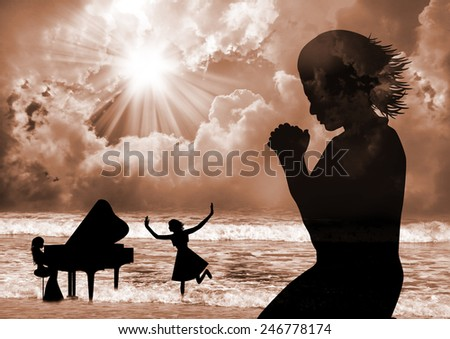 Praise The Lord -woman praise, dance and pray - stock photo
